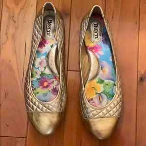 Brand New Born Quilted Gold Leather Flats